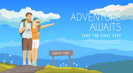 couple hiking: Vector flat web banner on the theme of Climbing, Trekking, Hiking, Walking. Sports, Camping, outdoor recreation, adventures in nature, vacation. Modern flat design. Travelling couple