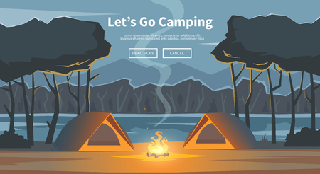 business survival: Vector flat web banner on the theme of Climbing, Trekking, Hiking, Walking. Sports, Camping, outdoor recreation, adventures in nature, vacation. Modern flat design. Evening camp