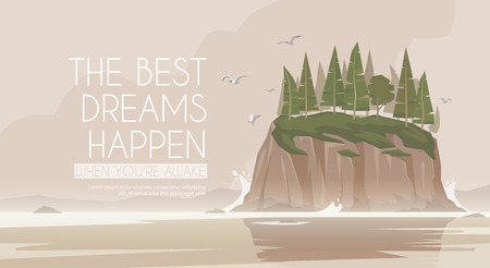 SEA  LANDSCAPE: Vector flat web banner on the theme of Climbing, Trekking, Hiking, Walking. Sports, Camping, outdoor recreation, adventures in nature, vacation. Modern flat design. Rocky island