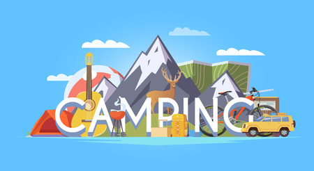 travelling: Vector flat web banner on the theme of Climbing, Trekking, Hiking, Walking. Sports, Camping, outdoor recreation, adventures in nature, vacation. Modern flat design.  Camping illustration