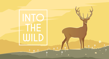 yellow adventure: Vector flat web banner on the theme of Climbing, Trekking, Hiking, Walking. Sports, Camping, outdoor recreation, adventures in nature, vacation. Modern flat design. Deer into the wild.