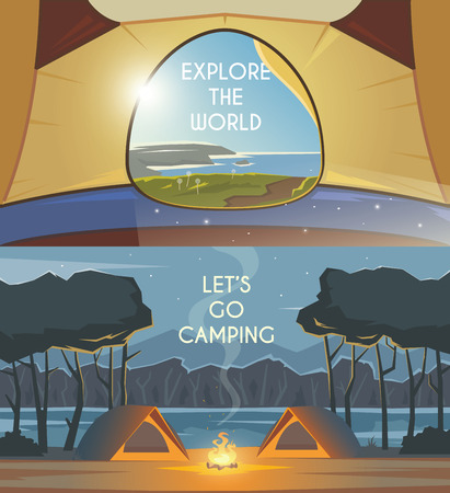 recreation: Vector flat web banners  on the theme of Climbing, Trekking, Hiking, Walking. Sports, Camping, outdoor recreation, adventures in nature, vacation. Modern flat design. Camping tent. Evening camp