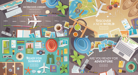 Flat vector web banners set on the theme of travel , vacation, adventure. Preparing for your journey. Outfit of modern traveler. Objects on wooden background. Top view. Ready for Summer. 1 Vettoriali