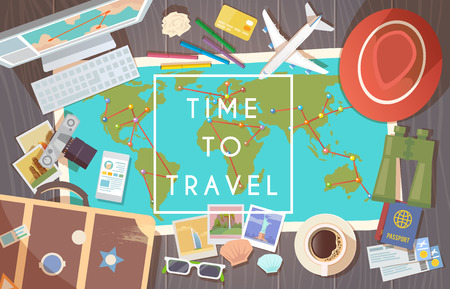 sunny: Flat vector web banner on the theme of travel , vacation, adventure. Preparing for your journey. Outfit of modern traveler. Objects on wooden background. Top view. Time to travel. 1 Illustration