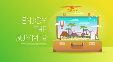 open suitcase: Summer vacation. Vacation in paradise. Enjoy the summer. Time to travel. Travel banner. Tropical island. Open suitcase with landmarks. Flat style. Illustration