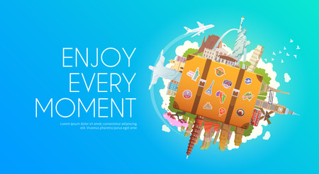 Travel to World. Trip to World. Road trip. Tourism. Suitcase with landmarks. Web advertising banner. Wanderlust. Travel Agency. Cruise tour. Travelling illustration. Modern flat design. Travel vector Çizim