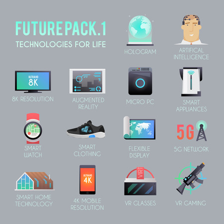 Future vector icons set. The technology of the future. Virtual reality. 8K and 4K resolution. Smart watch. Smart home. VR glasses. Smart clothing. Futuristic icons. Modern flat style.
