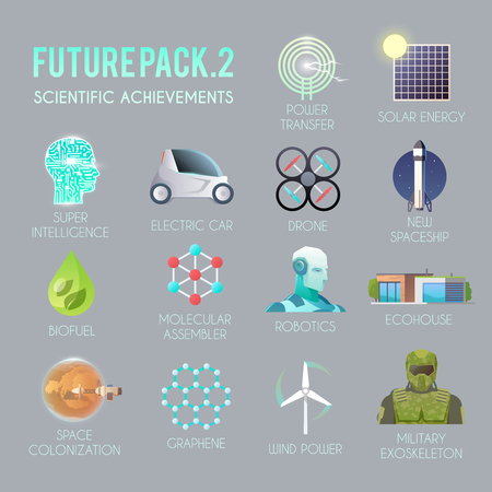 Future vector flat icons set. The technology of the future. Electric, drone, space, biofuel, the exoskeleton, graphene, space colonization, molecular assembler, wind energy solar robotics ecohouse
