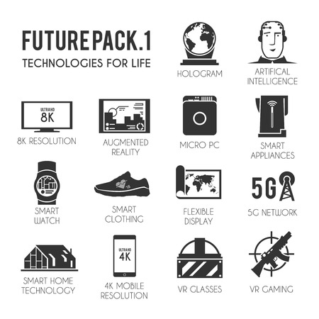 virtual reality simulator: Future vector icons set. The technology of the future. Virtual reality. 8K and 4K resolution. Smart watch. Smart home. VR glasses. Smart clothing. Futuristic icons. Black and white style. Illustration