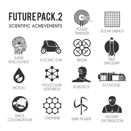 Future vector iconen set. De technologie van de toekomst. Electric, drone, ruimte, biobrandstof, het exoskelet, grafeen, ruimte kolonisatie, moleculaire assembler, windenergie zonne-robotica Ecohuis Stock Illustratie