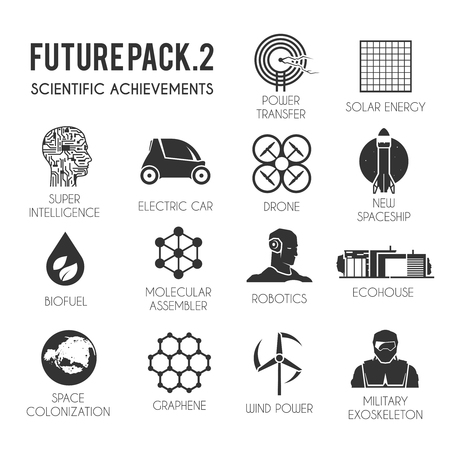 Future vector icons set. The technology of the future. Electric, drone, space, biofuel, the exoskeleton, graphene, space colonization, molecular assembler, wind energy solar robotics ecohouse
