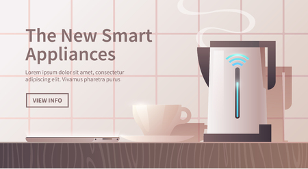 electronic: Smart home appliances. Control with your smartphone. Electric kettle. Advertising banner. Internet of Things. Modern flat style.