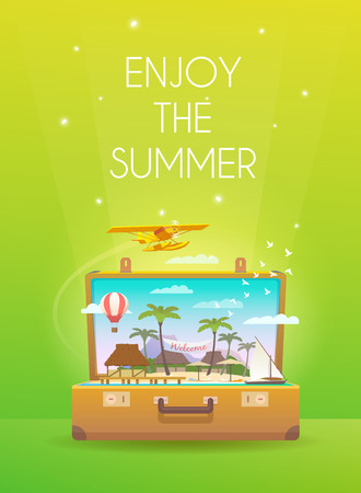 open suitcase: Summer vacation. Vacation in paradise. Enjoy the summer. Time to travel. Travel vertical banner. Tropical island. Open suitcase with landmarks. Flat style.