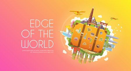 malaysia: Travel to Asia. Road trip. Tourism. Suitcase with landmarks. Tourism. Web advertising banner. Wanderlust. Landmarks in Asia. Cruise tour. Travelling illustration. Modern flat design Travel vector