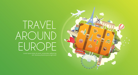 Travel to Europe. Road trip. Tourism. Suitcase with landmarks. Tourism. Web advertising banner. Wanderlust. Landmarks in Europe. Cruise tour. Travelling illustration. Modern flat design Travel vector