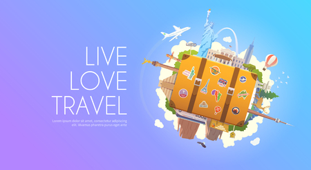 north america: Travel to North America. Road trip. Tourism. Old suitcase with landmarks. Web banner. Modern flat design.