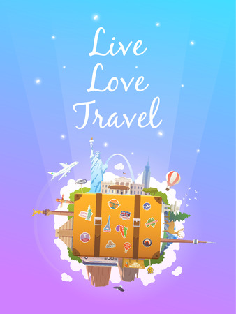 monument valley: Travel to North America. Road trip. Tourism. Old suitcase with landmarks. Vertical web banner. Modern flat design.