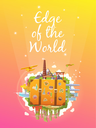 Travel to Asia. Road trip. Tourism. Old suitcase with landmarks. Vertical web banner. Modern flat design.
