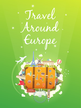 travelling: Travel to Asia. Road trip. Tourism. Old suitcase with landmarks. Vertical web banner. Modern flat design.