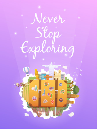 old suitcase: Travel to South America. Road trip. Tourism. Old suitcase with landmarks. Vertical web banner. Modern flat design. Illustration