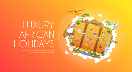 africa baobab tree: Travel to Africa. Road trip. Tourism. Old suitcase with landmarks. Advertising web banner. Modern flat design. Illustration