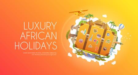 esfinge: Viajar a África. Viaje. Turismo. Maleta vieja con puntos de referencia. Publicidad banner web. Moderno diseño plano.