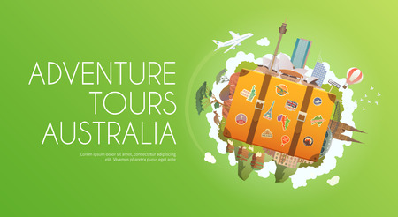 old suitcase: Travel to Australia. Road trip. Tourism. Old suitcase with landmarks. Advertising web banner. Modern flat design.