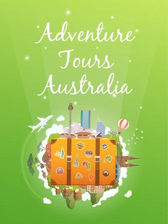 new zealand landscape: Travel to Australia. Road trip. Tourism. Old suitcase with landmarks. Vertical web banner. Modern flat design. Illustration