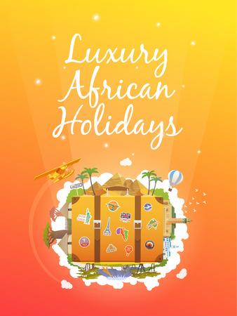 Travel to Africa. Road trip. Tourism. Old suitcase with landmarks. Vertical web banner. Modern flat design. Illustration