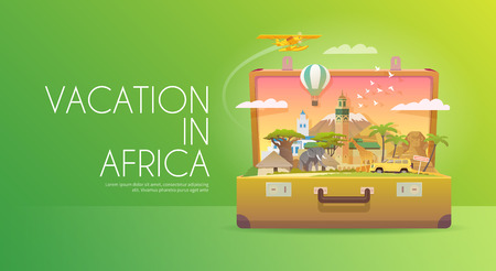 Travel to Africa. Road trip. Tourism. Old suitcase with landmarks. Advertising web banner. Modern flat design. Illustration