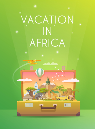 old suitcase: Travel to Africa. Road trip. Tourism. Old suitcase with landmarks. Vertical web banner. Modern flat design. Illustration
