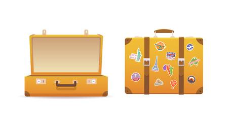 Abrir y cerrar la maleta vieja en el fondo blanco aislado. El equipaje de los viajeros. ilustración vectorial plana.