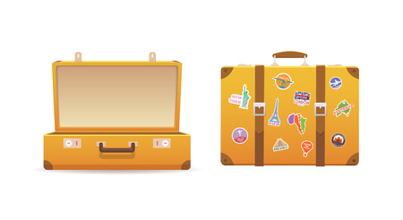 Open and close old suitcase on white isolated background. Luggage of the traveler. Flat vector illustration. Vectores
