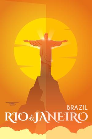 reise retro: Vector Retro-Poster. Urlaub in de Janeiro, Brasilien. Statue von Jesus Christus auf dem Berg. Reiseplakat. Flaches Design. Illustration
