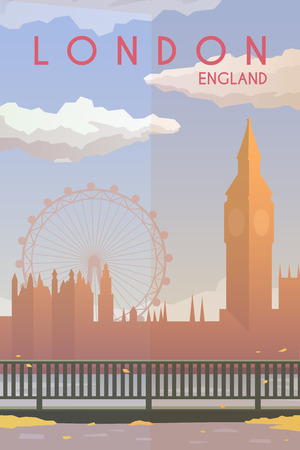 houses of parliament london: Vector retro poster. Holidays in London, England. Big Ben. The River Thames. Travel poster. Flat design