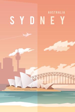벡터 복고풍 포스터. 호주 시드니. 오페라 극장. 하버 브리지. 여행 포스터 플랫 디자인