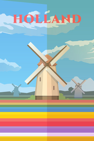 mills: Vector retro poster. Holland. Mills in the field. Field of tulips. Travel poster. Flat design.