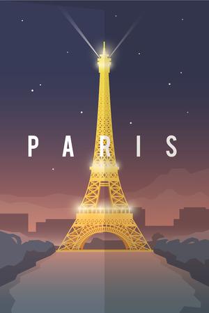 voyage vintage: Vector retro poster. Vacances à Paris. Tour Eiffel la nuit. France. Affiche de Voyage. Design plat.