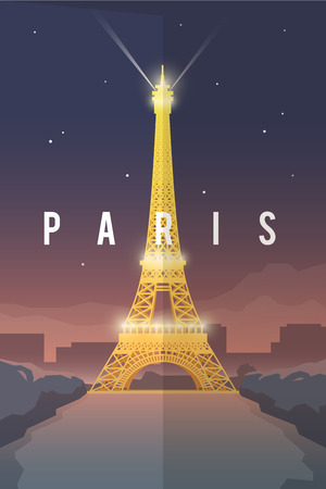 european: Vector retro poster. Vacation in Paris. Eiffel tower at night. France. Travel poster. Flat design.