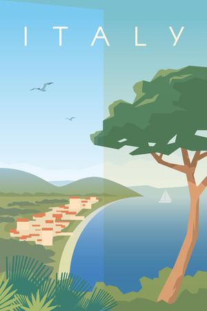 ベクトルのレトロなポスター。地中海のイタリアの都市。イタリアでの休暇。シーポート。旅行のポスター。フラットなデザイン。