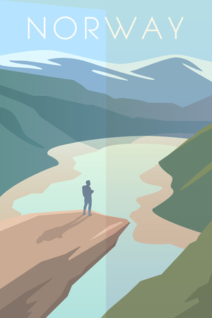 summit: Vector retro poster. Trolltunga. Man looks at the sky. The Nature Of Norway. Travel poster. Flat design. Illustration