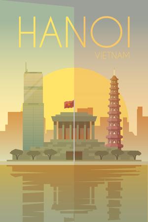 벡터 복고풍 포스터. 베트남, 하노이. 여행 포스터 플랫 디자인