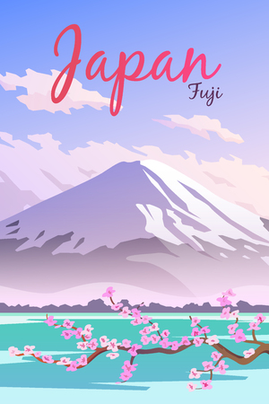 Vector retro poster. Mount Fuji in Japan. Travel poster. Flat design.