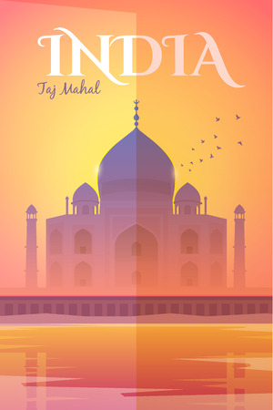 touristic: Vector retro poster. The Taj Mahal in the pink haze at sunset. Vacation in India. Travel poster. Flat design. Illustration