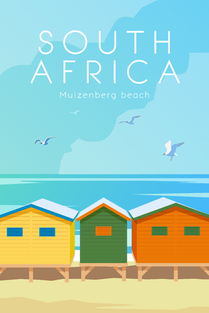 Vector Retro-Poster. Muizenberg Strand. Urlaub in Kapstadt, Südafrika. Reiseplakat. Flaches Design.