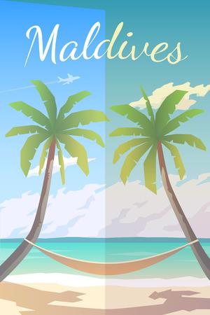 Vector retro poster. Maldives. Hammock between palm trees. Flat design