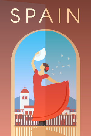 Vector retro poster. Spain. Flamenco dancer in red dress with fan in her hand. Flat design. Ilustração