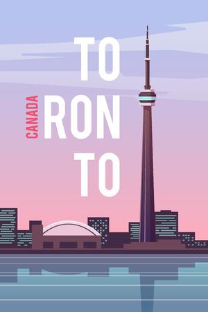 벡터 복고풍 포스터. 캐나다. CN 타워 플랫 디자인