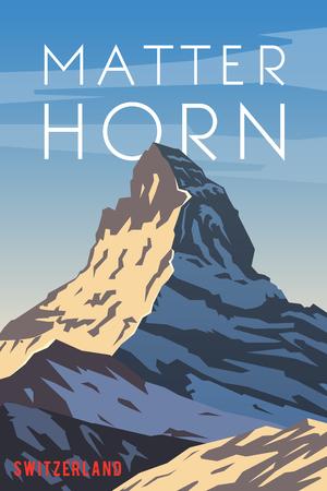 ベクトルのレトロなポスター。スイス。マッターホルン フラット デザイン