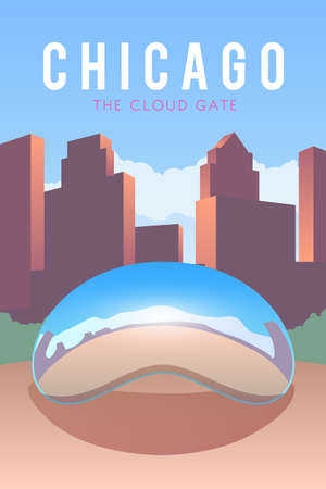 millennium: Vector retro poster. The Cloud Gate. Chicago. USA Flat design